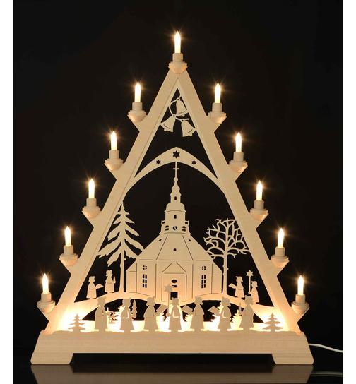 Weihnachtsdeko Seiffen.Lichterspitze Seiffener Kirche Mit Kurrende Von Kunstgewerbe Taulin
