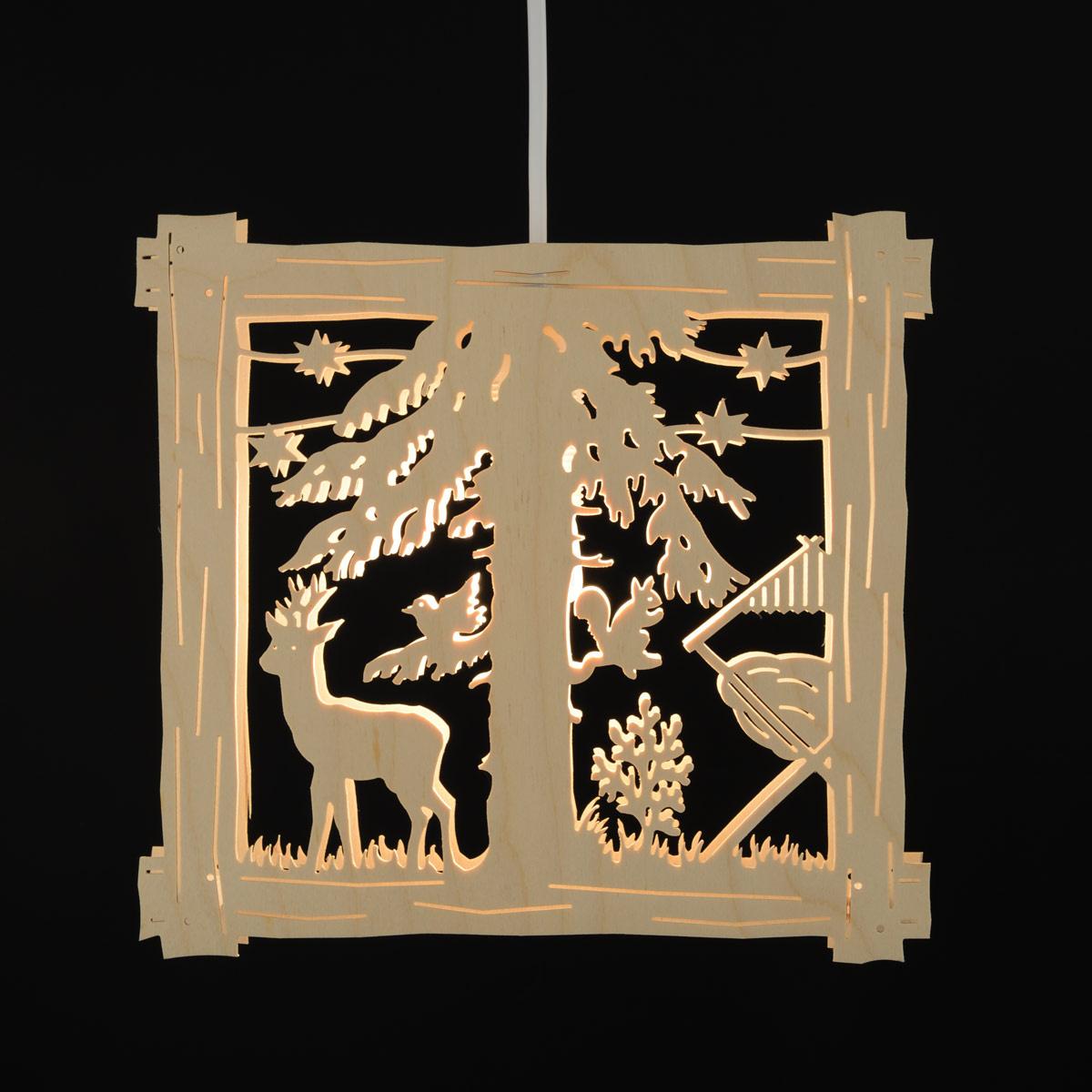Fensterbild Beleuchtet Rehbock Im Wald Von Clau Und