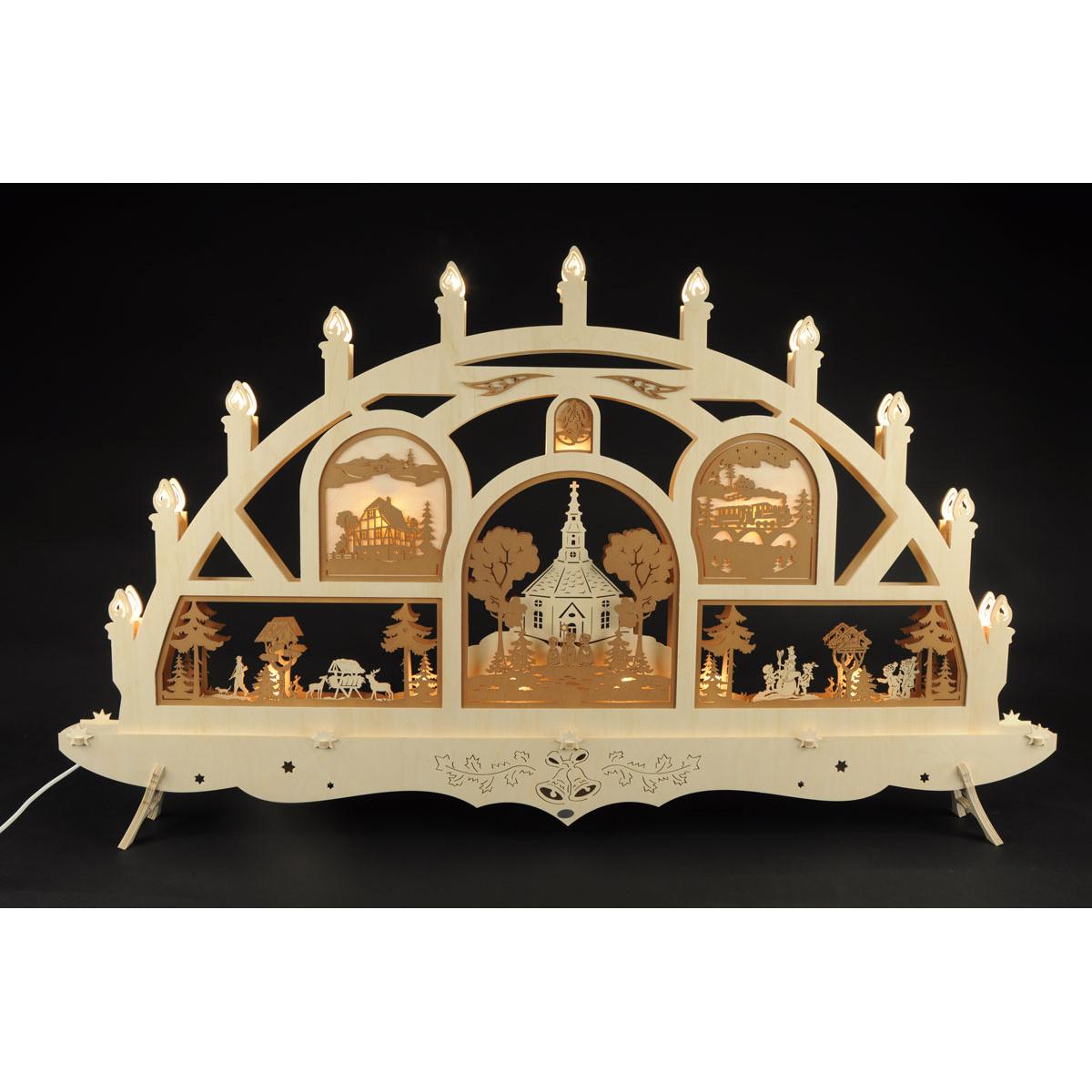 schwibbogen seiffener kirche von geissler holzkunst f r 450 kaufen. Black Bedroom Furniture Sets. Home Design Ideas