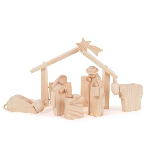 weihnachtskrippe modern 25 teilig spaltholz natur von g nter reichel f r 308 7 kaufen. Black Bedroom Furniture Sets. Home Design Ideas