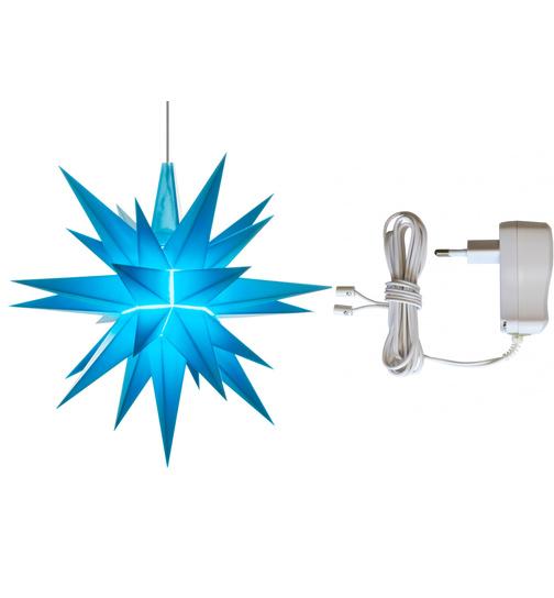 herrnhuter stern plastik a1e 13 cm ministern blau batteriehalter f r 1 stern von herrnhuter. Black Bedroom Furniture Sets. Home Design Ideas