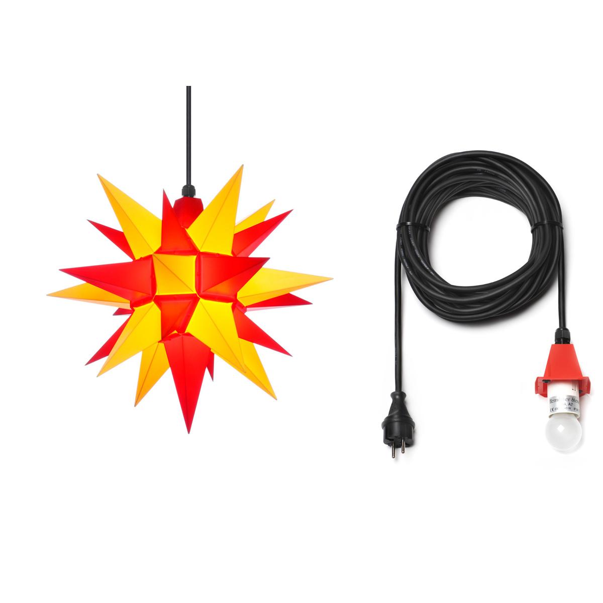 herrnhuter stern plastik a4 40 cm gelb rot mit kabel 10 m von herrnhuter sterne f r 69 5. Black Bedroom Furniture Sets. Home Design Ideas