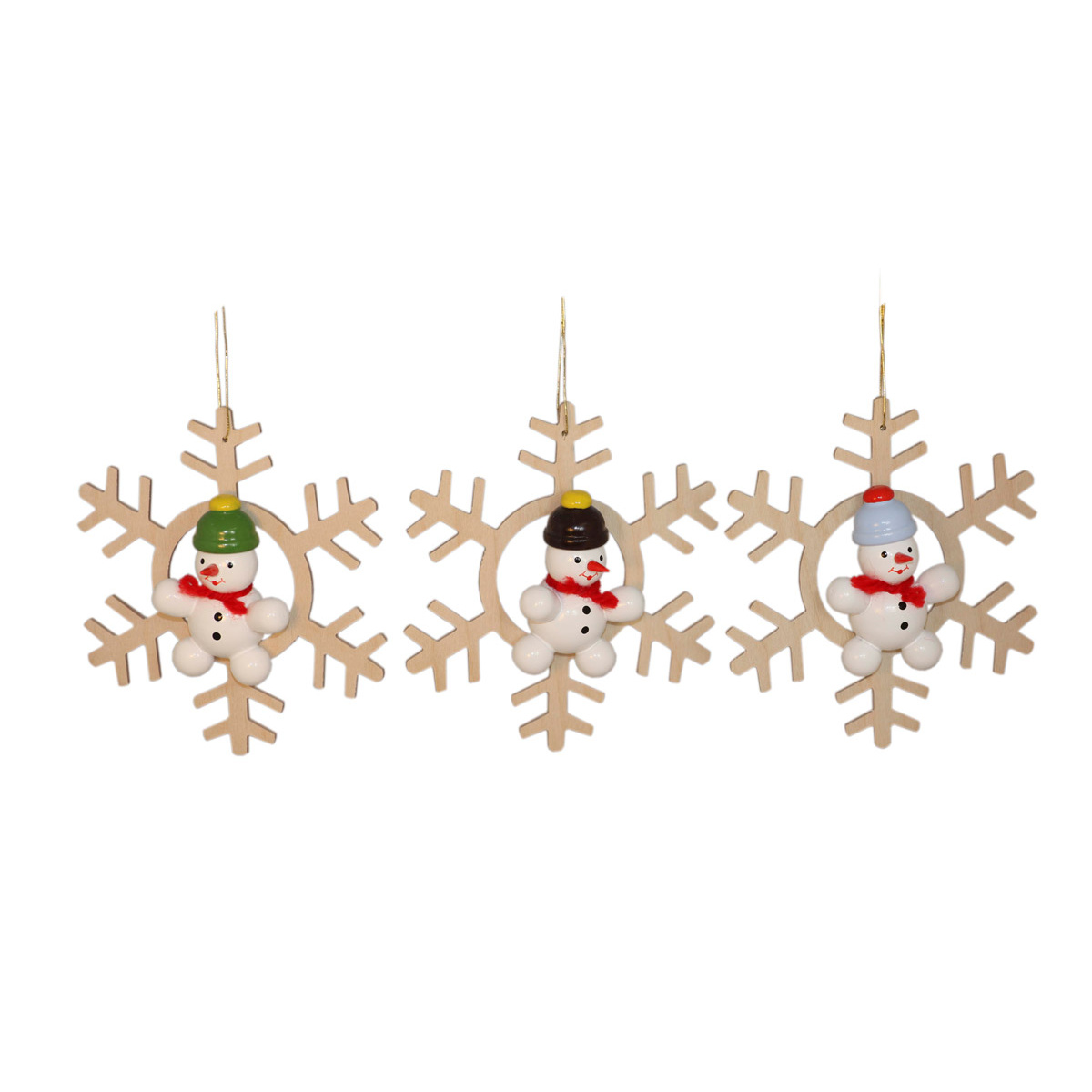 Baumbehang schneemann im kristall 3 teilig von volker - Weihnachtsdeko figuren ...