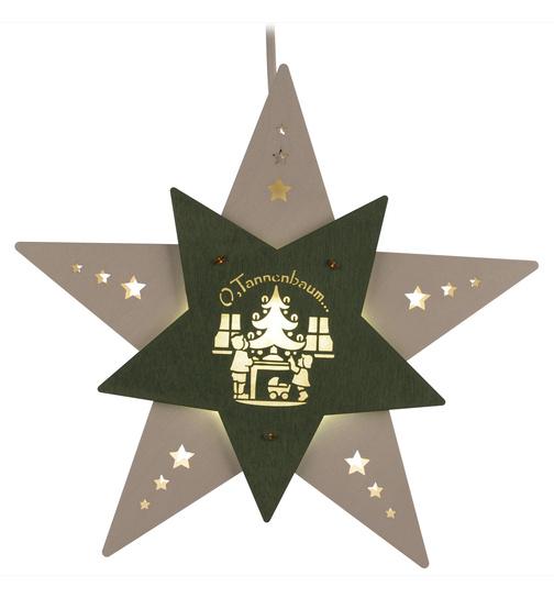 Tannenbaum Weiss Led.Fensterbild Stern Oh Tannenbaum Weiß Grün Led Von Weigla Für 28