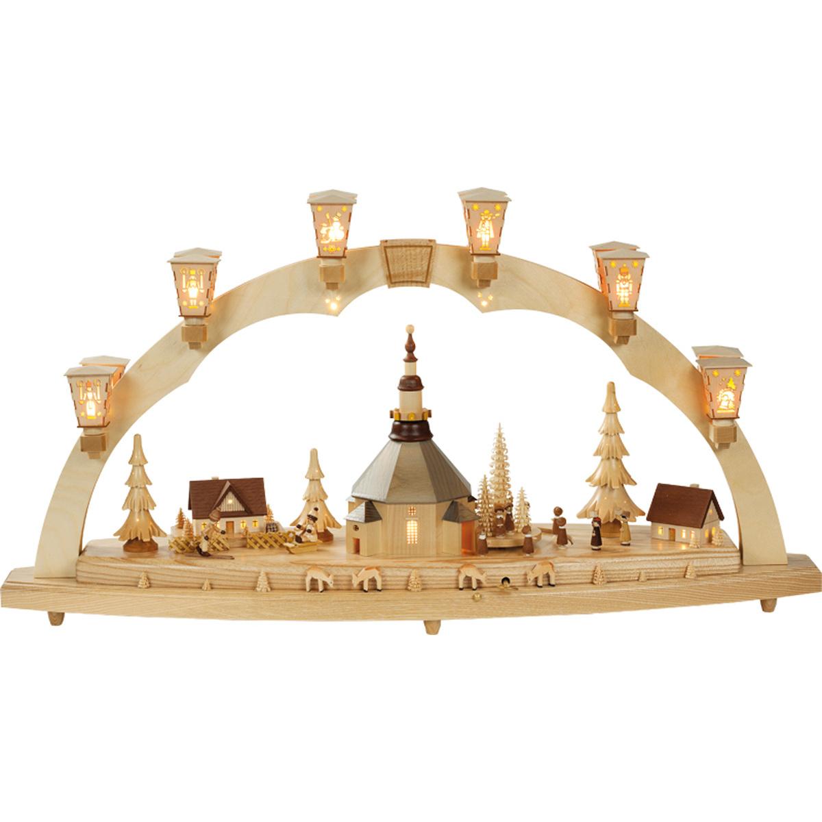 schwibbogen seiffener kirche mit kurrende mit spielwerk von richard gl sser f r 1186 kaufen. Black Bedroom Furniture Sets. Home Design Ideas