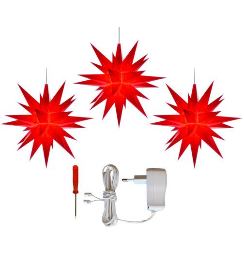 herrenhuter sterne 3er set herrnhuter stern ar plastik a1e 13 cm ministern rot mit netzgerat lichterkette weiss
