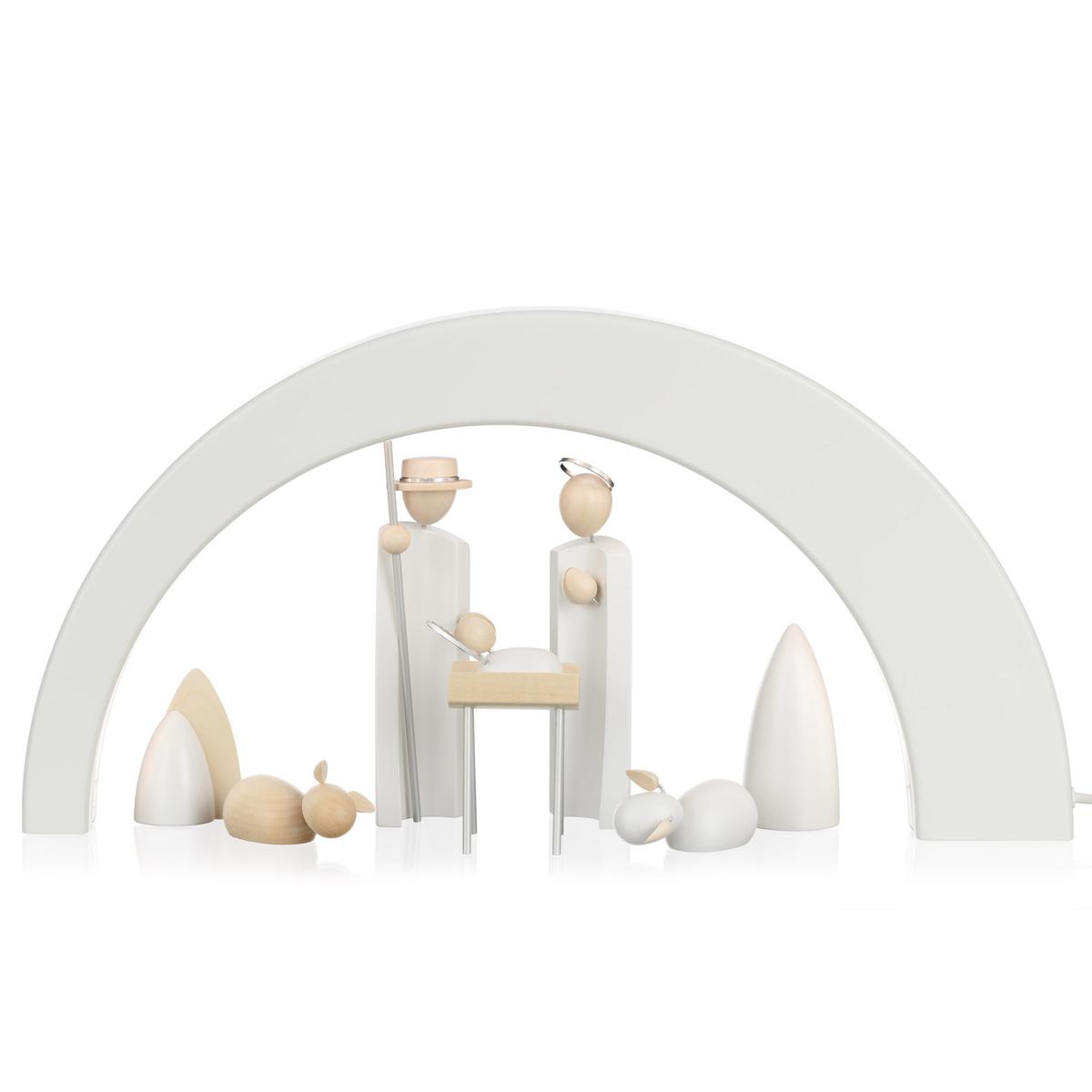 led schwibbogen simplex wei mit n umanns krippe von n umanns f r 387 8 kaufen. Black Bedroom Furniture Sets. Home Design Ideas
