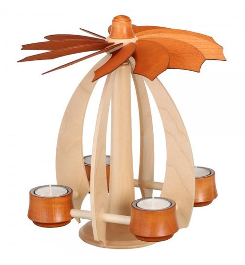 Tischleuchter LUNA mahagoni NEU Teelichthalter Erzgebirge Teelicht Modern Holz