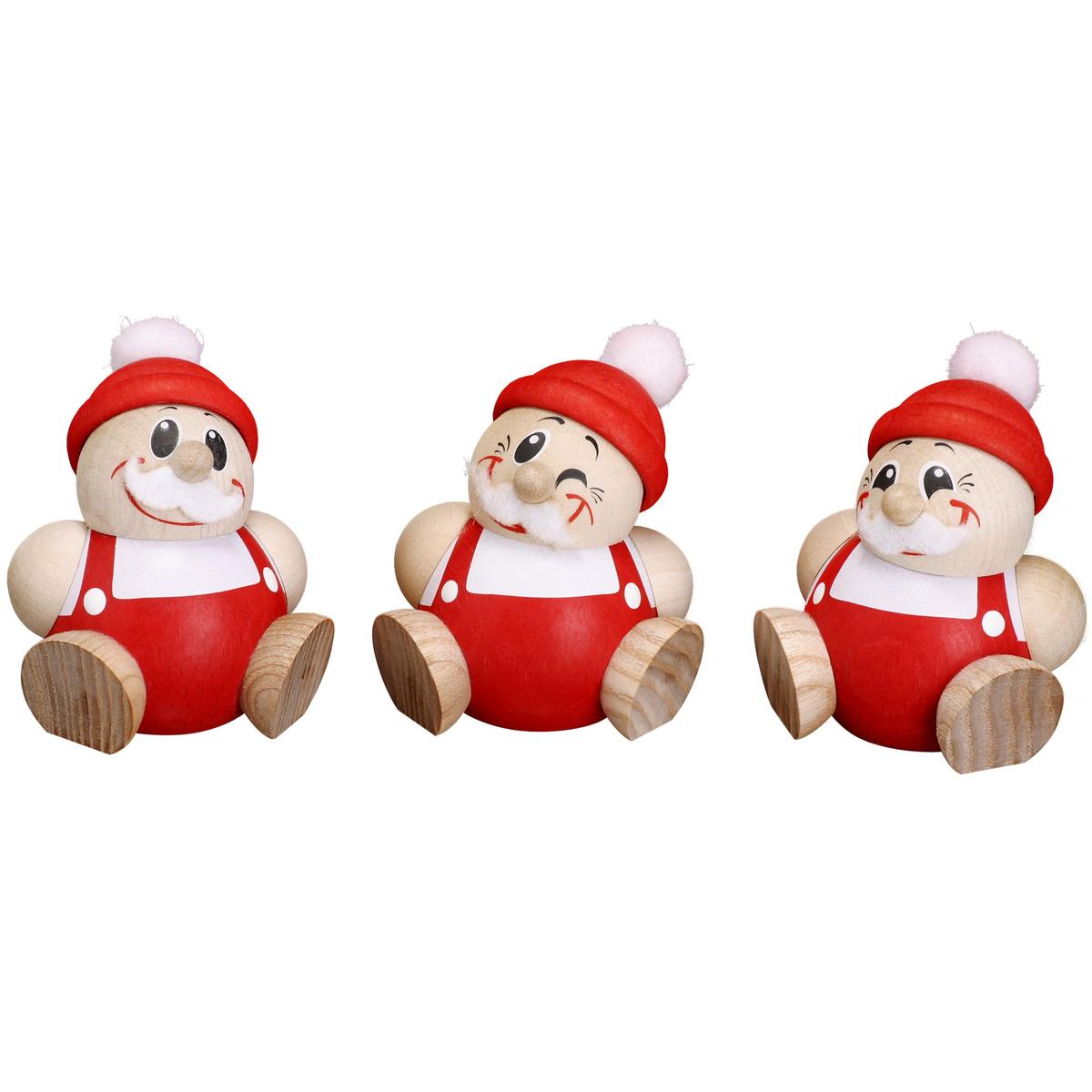 Kugelfigur nikolaus 3er set von seiffener volkskunst f r - Weihnachtsdeko figuren ...