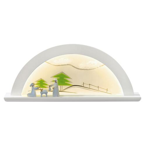 Schwibbogen LED-Beleuchtung Erle weiß Glas grüne Tanne von KWO für ...